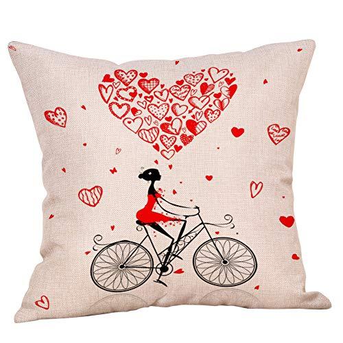 Mamum Taie d'oreiller Valentine Housse de Coussin imprimé Coton Lin Housse de Coussin canapé décor à la Maison (A)