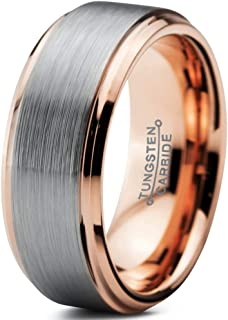 Charming Jewelers Tungsten Wedding Band Ring 8mm Men Women Comfort Fit 18k Yellow Rose Gold Black Grey Step Bevel Edge Brushed Polished