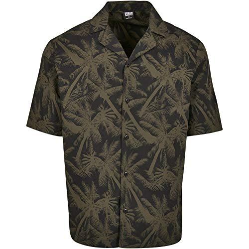 Urban Classics Herren Pattern Resort Shirt Freizeithemd, Mehrfarbig (Palm/Olive 01692), XXXXX-Large (Herstellergröße: 5XL)