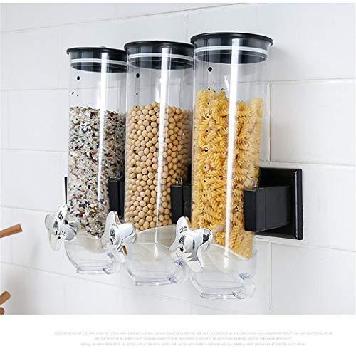99native Getreidespender Haferflocken Spender Wandmontage,Getreidespender Süßigkeiten Getreidebehälter Kunststoff Müslispender Aufbewahrungsbox Küche Lebensmittel Getreide Reisbehälter (Grau)