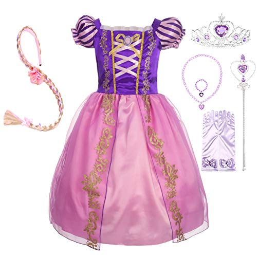 Lito Angels Girls' Princess Dress Up Costume Halloween Fancy Party Dress Outfit with Long Braid Wig & Accessories Set Size 2T