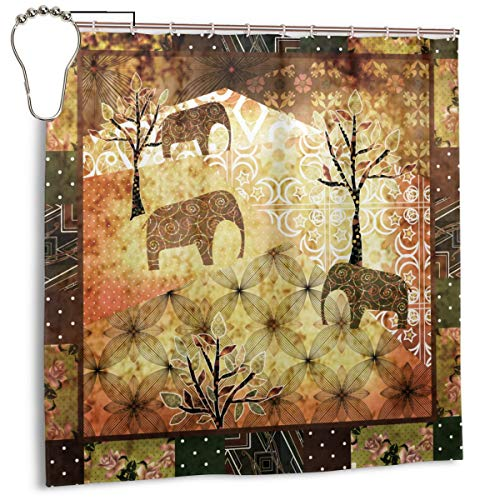 Lichenran Patchwork Africa Grunge Vintage Print Pattern, Cortina de Ducha de decoración del hogar 72inX72in