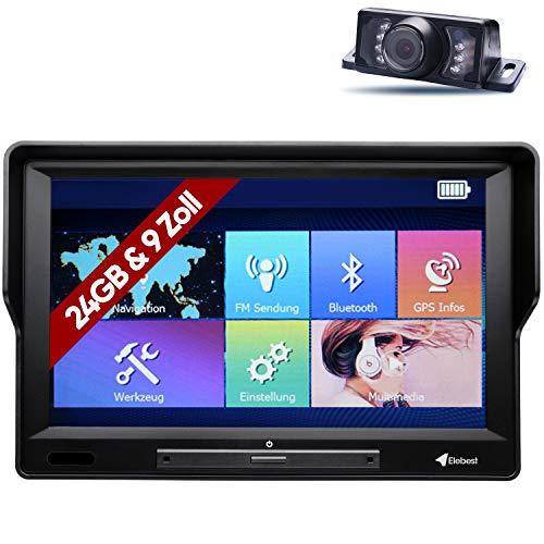 Elebest City 90KA+ Navigationsgerät Auto - 9 Zoll HD Display, Funk-Rückfahrkamera 2.4GHZ, lebengslanges Karten Update, Blitzerwarner, Bluetooth, 24 GB Speicher, für PKW LKW und Wohnmobil, starker Akku
