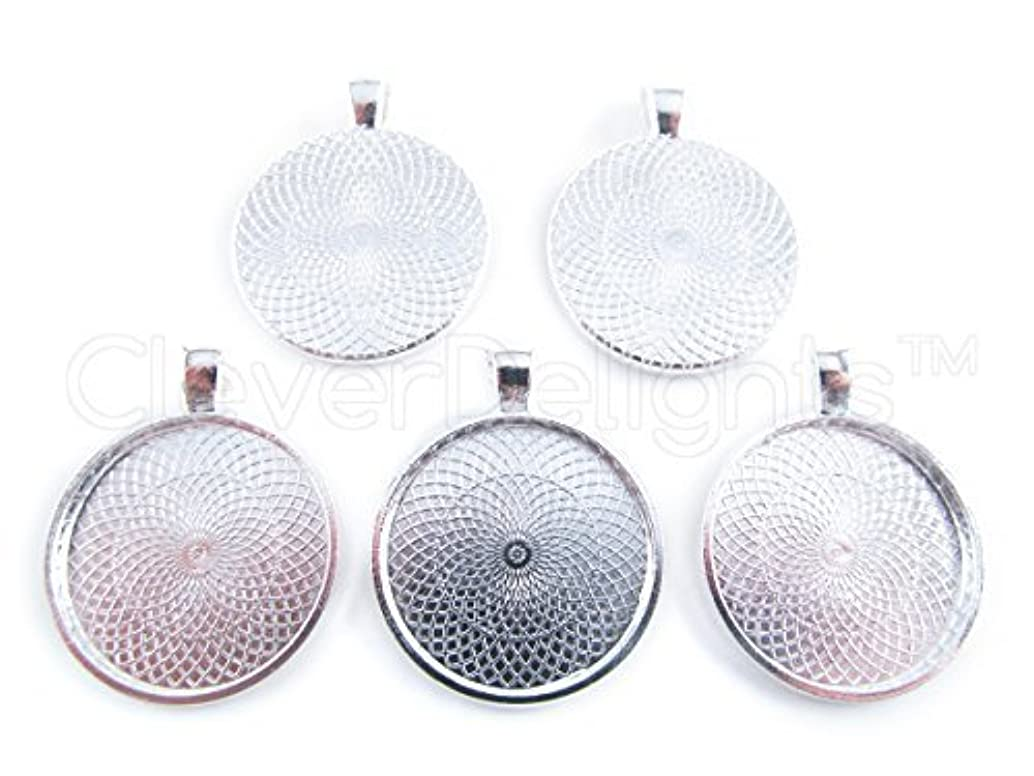 CleverDelights 50 Round Pendant Trays - Shiny Silver Color - 25mm 1