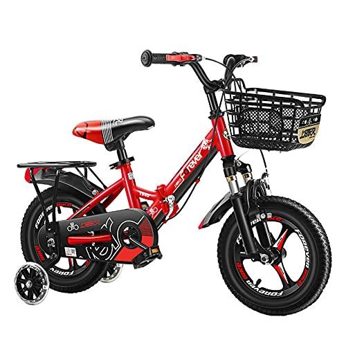 WYYY Bicicleta Plegable para Niños De 3 A 12 Años Bicicleta para Niños Y Niñas 12/14/16/18/20 Pulgadas Bicicleta Infantil Opcional Multicolor, (Size:16in,Color:Rojo)