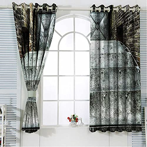 Industrial Noise Cancelling Curtains 63 Inch Length British Historic Factory Kitchen Curtains Cafe Net Curtain Window Decor W55 x H63