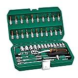 TLF-FF 46pcs Profesional llave de tubo Set 1 kits de herramienta / 4 pulgadas Destornillador de trinquete Juego de llaves del coche del kit de herramientas de reparación combinación de la mano del sis