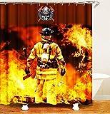 WOYQS Textil Duschvorhang Antischimmel Waschbar Bad Vorhänge.3D-HD-Printing.Feuerwehr.Verblassen Nicht.Badezimmerzubehör.180 X180Cm