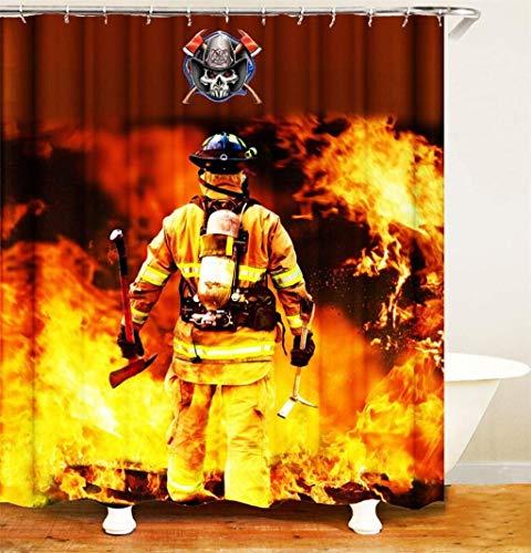 WOYQS Textil Duschvorhang Antischimmel Waschbar Bad Gardinen.3D-HD-Printing.Feuerwehr.Verblassen Nicht.Badezimmerzubehör.180 X180Cm
