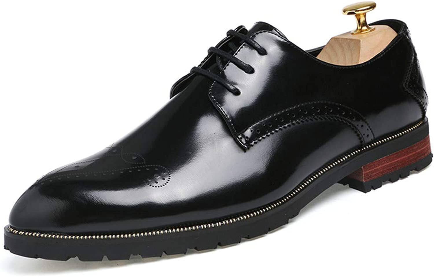 Z.L.F shoes Men's Business Oxford Personality Fashion Trend Pointed Carved Antique Patent Leather Brogue shoes Leather shoes