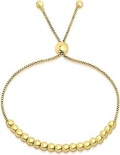 Sponsored Ad - Savlano 925 Sterling Silver 14K Gold Plated Italian Solid Adjustable Bolo Bead Ball Slider Bracelet Comes W...