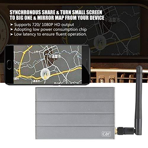 FOLOSAFENAR Adaptador WiFi para Coche Adaptador de Caja de Espejo 1280P Adaptador inalámbrico portátil HDMI a Prueba de Golpes con Cable AV