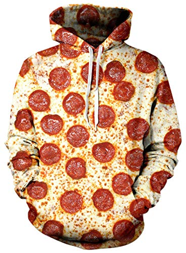 Loveternal Unisex Hoodies 3D Impreso Bacon Pizza Sport Gym Workout Pullover Sudadera con Capucha para Mujeres Hombres L