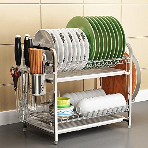 BOBE SHOP- Étagère multifonctionnelle de cuisine - doubles couches 304 étagère en acier inoxydable/étagère de drain/plat de support/support de couteau/étagère de tasse (taille : #2)