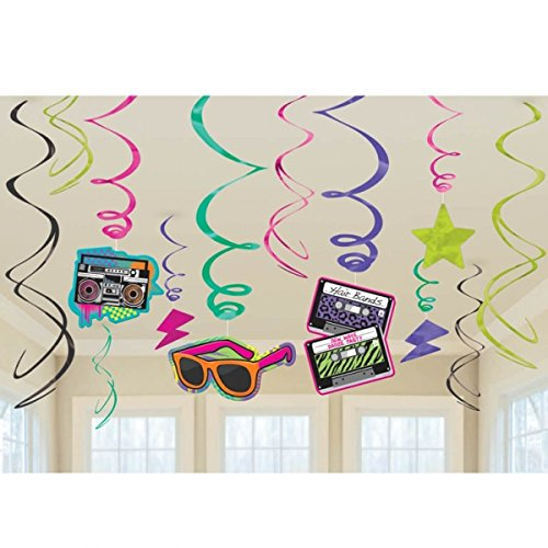 NET TOYS 12 STK. Hänge Deko 80er Jahre Party Spirale 80`s Girlande Mottoparty Hängedeko Geburtstag Partydeko