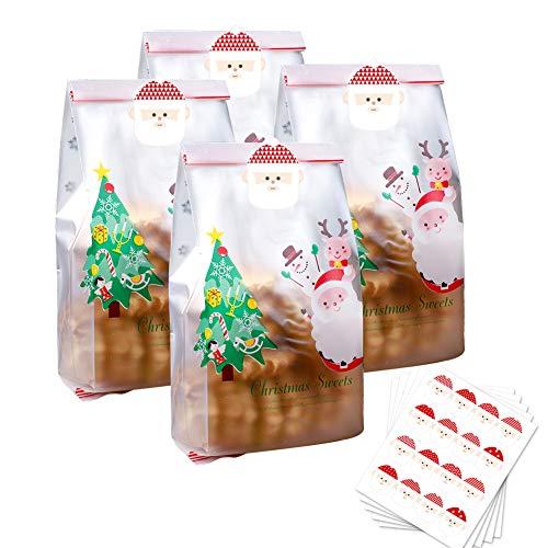 Sacchetti di biscotti di Natale 50 pezzi sacchetti per regali traslucidi con adesivi Sacchetti di plastica di albero di Natale per torta Caramelle Snack al cioccolato Panetteria Pane Cupcake Ciambelle