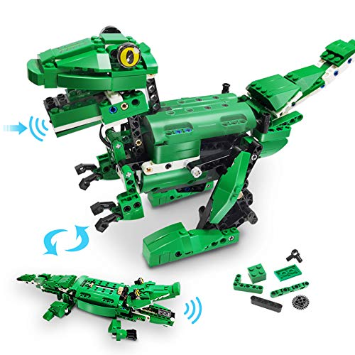 VERTOY Dinosaur Building Blocks - STEM Building Kit for Boys 8-12 14 Year Old, Walking Dinosaur and Moving Crocodile Toy, Gesture and Sound Control, Best Gift for Kids Age 8+, 450 pcs