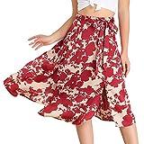 Allegra K Falda Midi con Estampado Floral A-Línea Corte Largo Ceñido Cintura Alta Elástica De Las Mujeres Rojo L