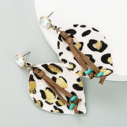 XCWXM Moda exagerada Pendientes de Diamantes de Cuero Bohemios Pendientes bañados en Oro Estampado de Leopardo Bohemios borlas largas para Damas Accesorios de Fiesta-Blanco
