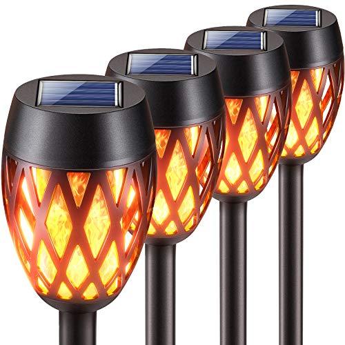 KOOPER Solarlampen für Außen Garten, 4 Stück Upgrade Garten Solarleuchten mit Realistischem Flammenlicht, IP65 Wasserdicht Garten Deko Solar Fackeln für Außen, Hof, Balkon, Auffahrt, Weg