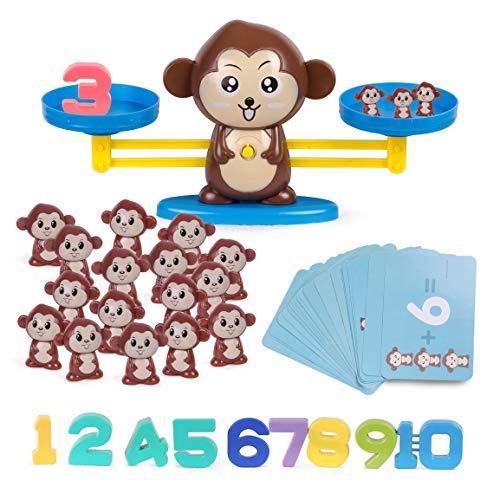 Highttoy Balance Juegos de conteo de matemáticas Stem Juguetes de Aprendizaje para niños (Juego de 65 Piezas), Mono marrón.