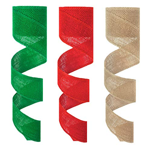 Korlon 3 Rolls Christmas Ribbon, Burlap Ribbon for Gift Wrapping Christmas DIY Handmade Crafts Party Decorations 2.4' by 16 Yards