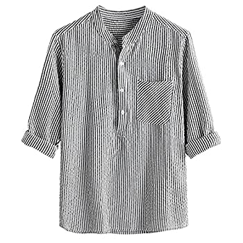 DZQUY Men s Linen Cotton Blend Henley Shirt 3/4 Sleeve Basic Summer Casual Loose Fit Vintage Shirt Beach Yoga Tee Tops