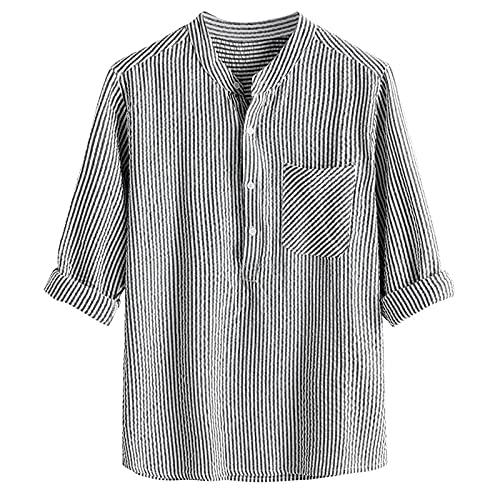AWDX 2021 Hemden Herren Langarm Leinenhemd Freizeithemd Meditieren Tai Chi Yoga Sommerhemd Große Größen Herrenoberteil Shirt S, M, L, XL, XXL, 3XL, 4XL, 5XL