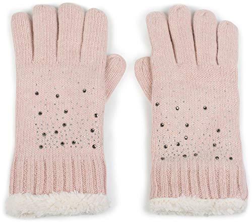 styleBREAKER Damen Handschuhe mit Strass und Fleece, warme Thermo Strickhandschuhe, Fingerhandschuhe, Winter 09010010, Farbe:Rose