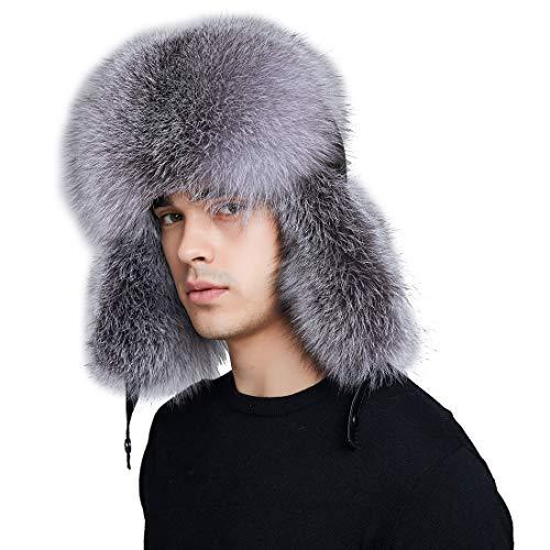 Men Fur Hat Winter Real Fox Fur Genuine Leather Russia Aviator Hats Ushanka Hats Lamb Leather Caps Bomber Hat by BeFur