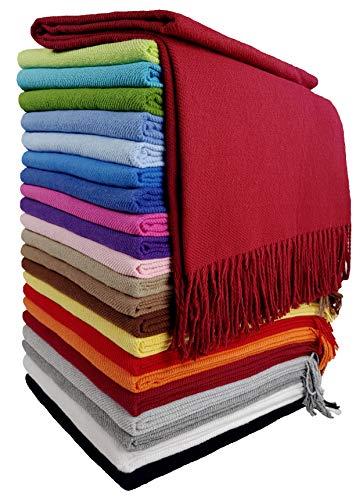 STTS International Baumwolldecke Wohndecke Kuscheldecke Tagesdecke 100% Baumwolle 130 x 170 cm sehr weiches Plaid Rio Dunkelrot