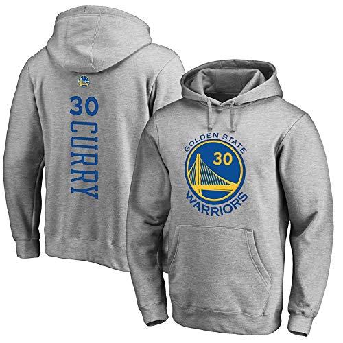 WANLN Herren Basketball Hoodie, NBA Warriors 30# Curry Jersey Kapuzenpullover Loose Basketball Sweatshirt,Grau,XXXL