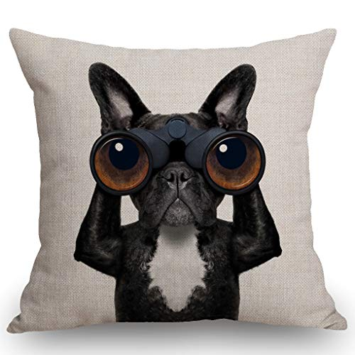 SSOIU French Bulldog Gifts Pillow Cocer, French Bulldog Pillow, Bulldog Cotton Linen Throw Pillow Case Cushion Cover Pillowcase for Sofa Home Bed Decorative 18'x18'