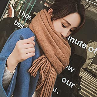 Winter Long Scarf Autumn and Winter Scarf Female Wild Long Thick Shawl Warm Ladies Knitted Yarn Student Collar Winter (Color : Beige) Winter Soft Scarf (Color : Khaki)