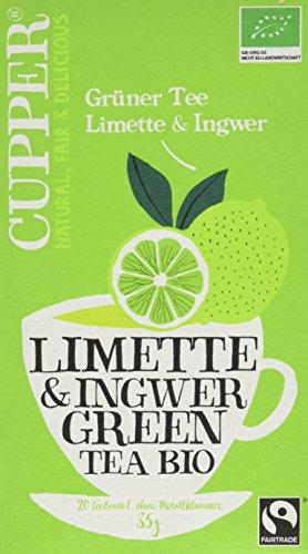 Cupper Grüner Tee Limette&Ingwer, 4er Pack (4 x 35 g)