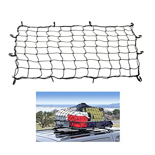 Red de equipaje de techo, tapa de la red de equipaje de vehículos fuera de carretera, bolsillo de la red del bastidor de equipaje, red de carga con 12 ganchos ajustables y malla extra hermética, negro