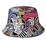 SDFRG Música temática Dibujado a mano Instrumentos abstractos Micrófono Batería Teclado Stradivarius Bucket Sombrero para el sol para hombres y mujeres Packable Summer Fisherman Cap Safari, Beach \u00