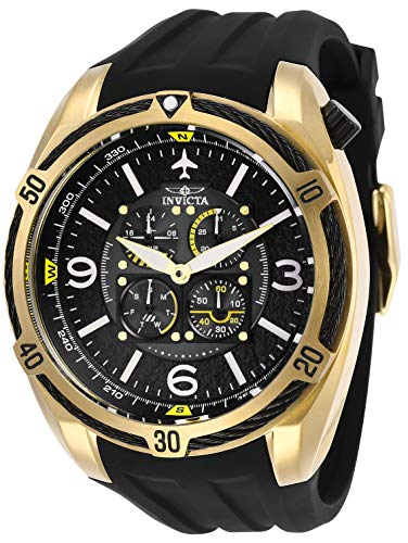 Invicta Men's Aviator Stainless Steel Quartz Watch with Silicone Strap, Black, 32 (Model: 28079)
