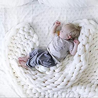 SPRINGWIND Large Chunky Knit Blanket Handmade Bulky Soft Bed Sofa Throw Blanket White 4770 Inch