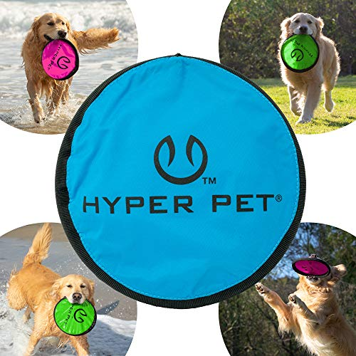 Hyper Pet Flippy Flopper Dog Frisbee Interactive Dog Toys [Flying Disc Dog Fetch Toy - Floats in Water & Safe on Teeth] (Colors Will Vary)