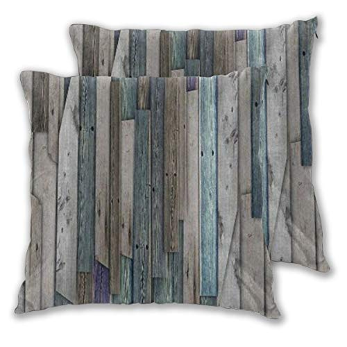 DECISAIYA 2er-Pack Kissenbezug,Rustikales Bild von blau grau Grunge Holzplanken Scheune Haus Türnägel Country Life Theme Print,Dekorative Quadratische Dekokissen...