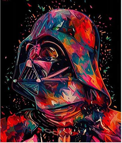 xuhpiar DIY Digitale Pittura Star Wars DIY Oil Paint By Number Kit, Pittura Paintworks Disegni con Spazzole 40X50Cm Decorazioni Natalizie Decorazioni Regali