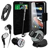 N4u Online® 6 in 1 Stoßstange Value Pack Samsung Galaxy S5 Mini Duos Kunstleder Saugnapf Hülle, Halter USB Ladegerät, Datenkabel, Eingabestift Kopfhörer - Schwarz