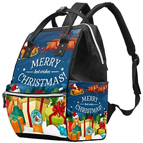 Weihnachtsgeschenk und Santa Schlitten Windel Wickeltasche Windelrucksack mit isolierten Taschen Kinderwagengurte, große Kapazität Multifunktionale stilvolle Wickeltasche für Mama Papa im Freien