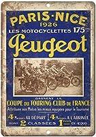 プジョーモーターサイクルパリフランスウォールメタルポスターレトロプラーク警告ブリキサインヴィンテージ鉄絵画装飾バーガレージカフェのための面白いハンギングクラフト