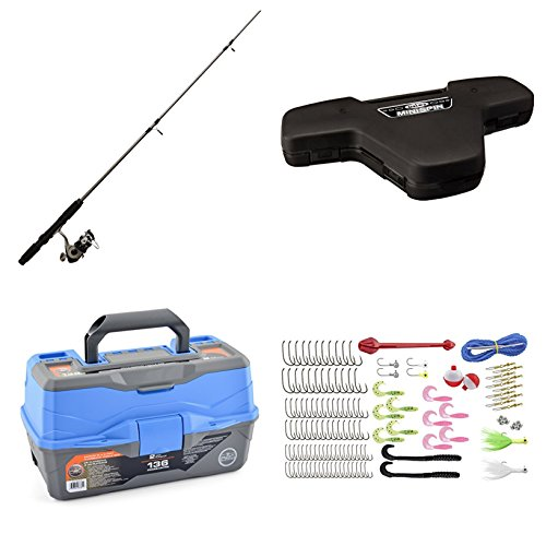 Bundle Includes 2 Items - Daiwa Mini System Minispin Ultralight Spinning Reel and Rod Combo in Hard Carry Case and Ready 2 Fish Tackle Box - 2 Tray