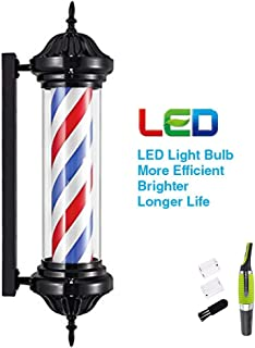 Owxjkk LED Barber Pole Light,Rotating Waterproof Illuminated Barber Shop Sign Hairdressing Indoor and Outdoor Use,Wall Mountable,Retro Light LED Red White Blue Stripes & (Nose Hair Trimmer