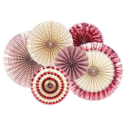4つサイズ 6点セット ペーパー飾り付け 扇子の組み合わせ ペーパーファン 紙扇子 誕生日飾り付け 結婚式 バースデー 部屋飾り ペーパーデコレーション (Rose Pink)