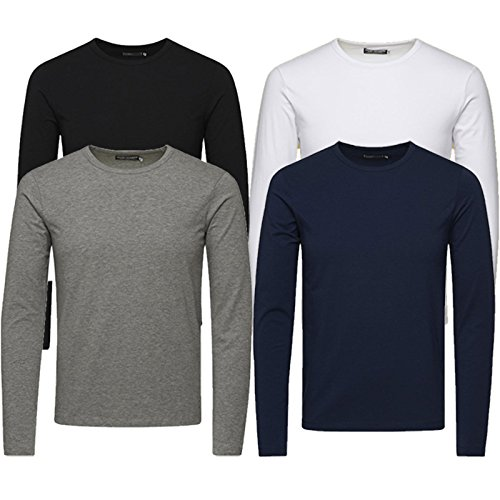 JACK & JONES Herren Langarmshirt 4er Pack Rundhals Basic LS Shirt Longsleeve Tee Core O-Neck S M L XL XXL (L, 4er Pack Mix)