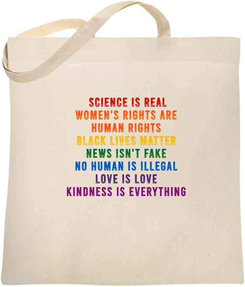 Science Is Real Black Lives Matter Womens Rights LGBTQIA Kindness Rainbow Facts Large Canvas Tote Bag Women